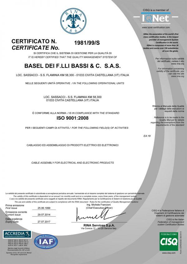 Basel certificato RINA